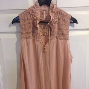 Peach Free People Smocked Sleeveless Blouse Sz L